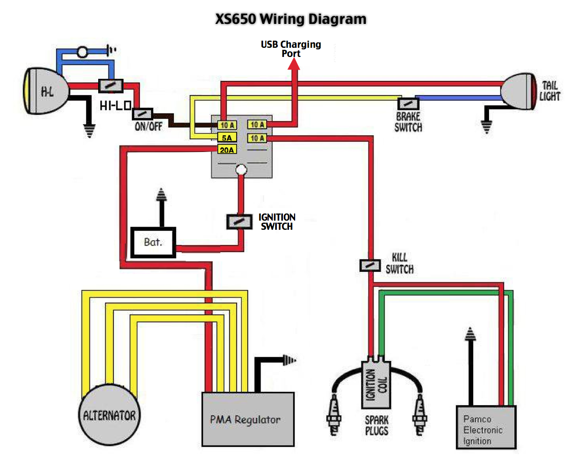 xs650 pma electronic ignition wiring diagrams basic wiring diagram u2022 rh rnetcomputer co Yamaha Maxim 650 Chopper Wiring Diagrams xs650 bobber wiring diagram